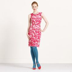 Ooooh, blue tights with a red dress and shoes! Blue Tights, Colored Tights, Minnie Dress, Kate Spade Designer, Red And White Dress, Wardrobe Makeover, Pink Floral Dress, Dress Skirt, Dress Outfits