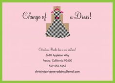 Change of A Dress Moving Announcement Invitations by Invitation Duck