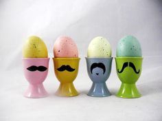 Spring Color Mustache Egg Stand Set of 4 Handpainted by kaoriglass
