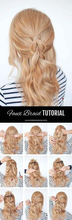 Faux braid; Get the scoop on these wedding hairstyle tutorial looks from Hair Romance's amazing blog. hairromance.com