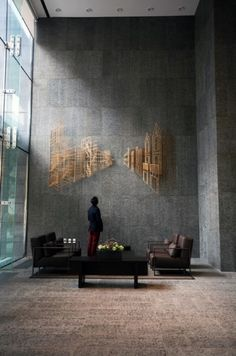 Contemporary wall installations give the atmosphere modern feel.