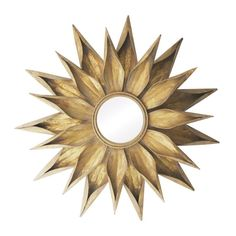 Metal wall mirror with a starburst frame. Product: Wall mirror Construction Material: Metal and mirrored glassColor: Gold frameFeatures: Sunburst frameDimensions: Diameter Gold Framed Mirror, Oversized Wall Mirrors, Sunburst Mirror, Metal Mirror, Round Wall Mirror, Wall Mounted Mirror, Round Mirrors, Mirror Mirror, Decorative Mirrors