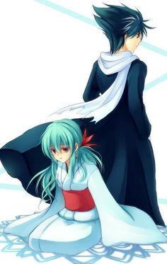 Hiei and his younger twin sister Yukina. I was always so impatient when it came to her finding that he is her brother!