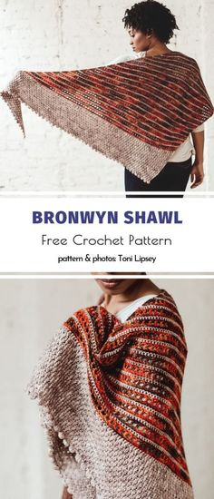 Fantastic Shawls for Fall Bronwyn Shawl Free Crochet Pattern. This soft and cosy shawl is big enough to cover your upper body. It's a timeless accessory that will come in handy during winter months as well. Crochet Shawl Free, Crochet Shawls And Wraps, Knitted Shawls, Crochet Scarves, Crochet Yarn, Crochet Clothes, Shawl Patterns, Crochet Patterns, Fall Knitting