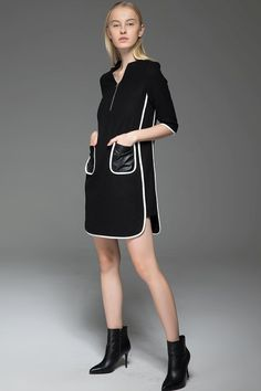 Chanel Style Dress - Black Wool Mini Dress with Cream Piping and Leather Pockets 60s Era Vintage Style Womens Dress C778