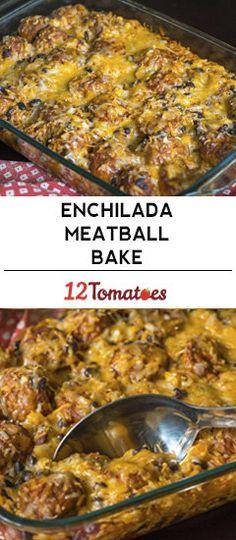 Cheesy Enchilada Meatball Casserole