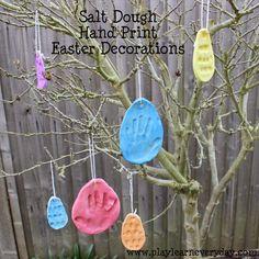Salt Dough Handprint Easter Decorations