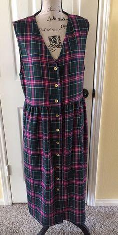 Pendleton Womens Vintage Wool Plaid Button Front Sleeveless Jumper Dress Size 14  | eBay