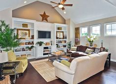 Built-in media wall in great room. The Hartwell, Homesite 52/S at River Green in Canton, GA