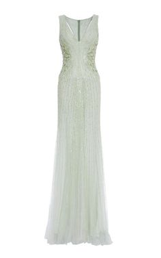 Mint Embroidered Tulle V Neck Gown by MONIQUE LHUILLIER for Preorder on Moda Operandi