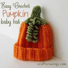 Easy Crochet Pumpkin Baby Hat (pattern) - Craft Cravings