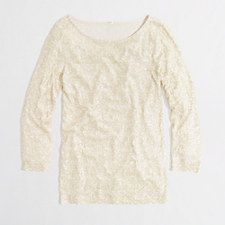 Factory draped sequin tee - WHITE ASH