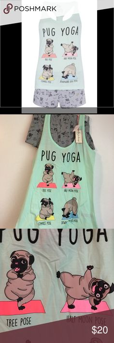 NWT Pug yoga pj set size M Cute and comfortable pj set with pugs doing yoga pose. ❤️ print. New with tags, I can get more sizes, let me know so I can get different sizes, Top part = 65% polyester 35% cotton. Bottom 88% cotton, 12% polyester.  Comes with top and bottom. This is a size M (6-8). Hurry up it won't last long. I personally love pjs since I always want to be nice to my husband. Pjs are really important for me. NEW WITH TAGS. No smoke or pets in the house. Mint color love to lounge…