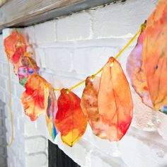 make coffee filter leaves - look at leaf shapes, mixing yello, red to make orange add water idea Celebrate the Season: Coffee Filter Fall Leaf Garland
