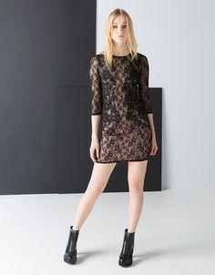 Bershka España - Vestido Bershka encaje detalles caviar