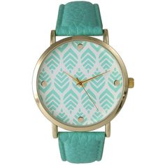 Olivia Pratt Olivia Pratt Women's Leather Chevron Leaves Watch... (35 AUD) ❤ liked on Polyvore featuring jewelry, watches, mint, mint jewelry, buckle jewelry, dial watches, leather watches and chevron jewelry