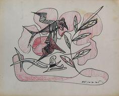 E. Besozzi pitt. s.d. (1968) Composizione pennarello e biro su cartoncino cm. 32,5x25,9 arc. 354