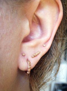 c702f53e0 Tiny meteoirite texture hoop earring in recycled 14 karat yellow gold - Sharon  Z Jewelry Handmade