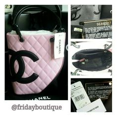 """Chanel Handbag in Original Box Chanel Petit Shopping - Rose & Black.  Cones with dust bag and box. Top is wider than bottom 6"""" at bottom 8"""" at top, 8"""" tall, CHANEL Bags"""
