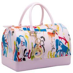 MG Collection KARI Series Trendy Graffiti Scrawl Print Fashion Candy Hand Bag