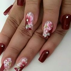 50 Ideas For Nails Almond Design Winter – Nails art Flower Nail Designs, Colorful Nail Designs, Nail Art Designs, Winter Nails, Spring Nails, Summer Nails, Fabulous Nails, Gorgeous Nails, Stylish Nails