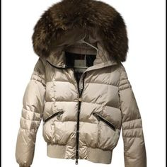 Moncler Winter Coat with Fur Trim Ecru puffer coat with fur trim hood. Barely worn and in like new condition. Recently dry cleaned. Super cozy and warm! Moncler Jackets & Coats Puffers