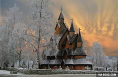 800 year old stave church made entirely from wood without a single nail. Borgund, Norway.