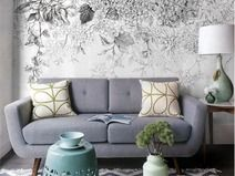 Bosquejo Flores Papel Pintado blanco negro Mural