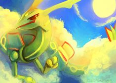 DAY THREE - Favorite Dragon Type by MusicalCombusken.deviantart.com on @deviantART (Rayquaza)
