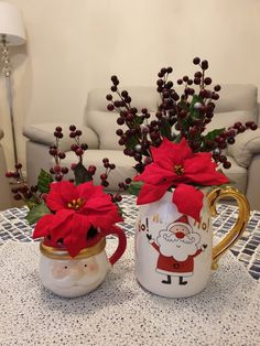 Christmas decor ideas and projects Santa water jug used as a vase from Santa Claus mug from Red berry pick from Artificial Pointsettia from Unique Christmas Ornaments, Christmas Decorations, Diy Interior, Interior Design, New Zealand Houses, Summer Christmas, Advantages Of Watermelon, Berry, Diy Home Decor