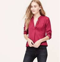 Split Neck Shirred Blouse - In luxe charmeuse, we can't resist the decadent drape of this lightly shirred piece. Split neck. Long sleeves. Shirred at banded neckline and back yoke. Single pleat beneath neckline. Button cuffs. Shirttail hem.