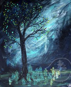 Tree Painting Sunlight Painting Mixed Media Art by treetalker, $245.00