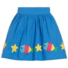 Frugi - Girls Blue Organic Cotton Skirt | Childrensalon