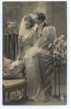 Bride and groom, c. 1905.  This is such a beautifully romantic portrait.