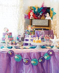 Sparkly Little Mermaid Under the Sea Birthday Party. Event Styling, Photography & Decor: Storybook Bliss.