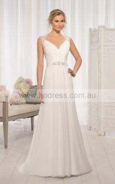 A-line V-neck Natural Sleeveless Floor-length Wedding Dresses wes0222