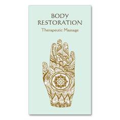 Massage Therapist Logo Henna Lotus Tattoo Hand 2 Business Card Template - massage therapy | yoga teachers | meditation |  alternative health