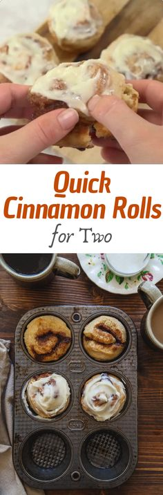 Cinnamon rolls for two, made so quick and easy without yeast! #cinnamonrolls #quickrecipes #foods #desserts