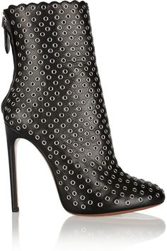 6215c377e3b7 Alaia Eyelet-embellished leather ankle boots on shopstyle.com Silver Ankle  Boots