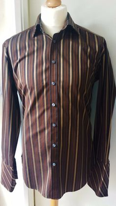 Ted Baker Elevated Shirt Mens Size L 16 Brown Gold Striped Designer Shirts WOW!