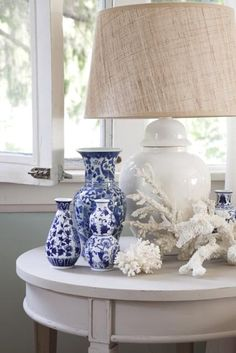Blue and Whites with Coral