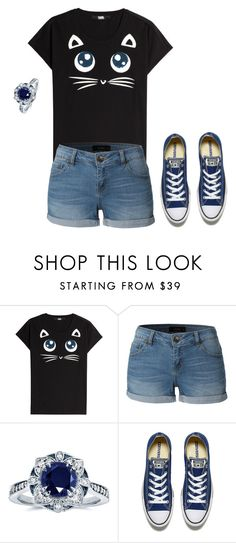 """Meow "" by vermont-loves-kitties ❤ liked on Polyvore featuring Karl Lagerfeld, LE3NO, Kobelli and Converse"