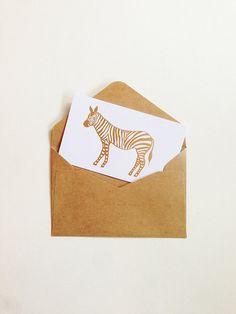 Zebra - Gold Foil - Gift Card / Gift Tag Set with kraft envelope - Name Card Size on Etsy, $79.62 HKD