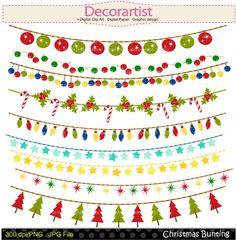 Christmas clip art Christmas bunting clip art by decorartist