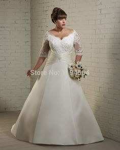 Cheap dresses quinceanera, Buy Quality dress for maid of honor directly from China dress mature Suppliers:     Sheer Lace Plus Size Wedding Dresses 2015 A Line Bridal Gowns Satin Chapel Train Appliques Half Sleeve WH328