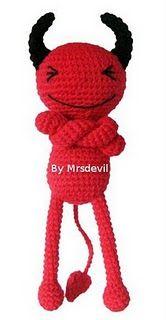 Red Devil Crocheted Doll