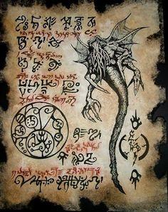 Necronomicon Fragment 012 <br>Eine erhaltene Seite aus dem originalen Werk des verrückten Arabers Abdul Alhazred - Replikate aus dem Cthulhu Mythos von verschiedenen Künstlern geschaffen.