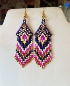 Native American Style Beaded Hot Pink Dark Purple Gold and