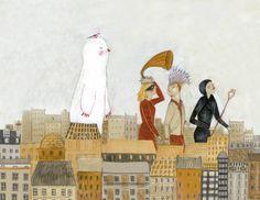 """""""Ilustración para la editorial Impedimenta. Paseos por la ciudad, si es en grupo, mucho  mejor!""""  © Iratxe López de Munáin"""