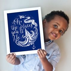 Oh the places you'll go! nautical nursery art.  Perfect for boy's room, play room.  Printable, too!